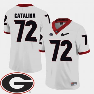 Men 2018 SEC Patch College Football #72 Tyler Catalina UGA Jersey White 229331-797