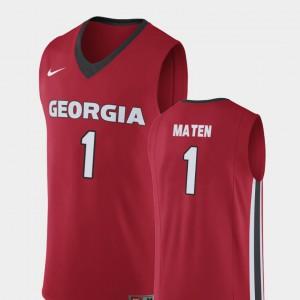 #1 College Basketball For Men Replica Red Yante Maten UGA Jersey 547324-369