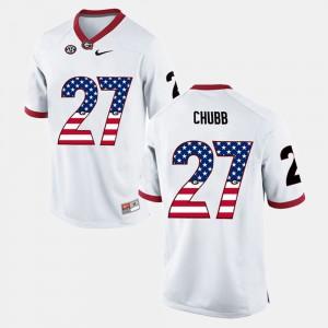 Nick Chubb UGA Jersey White US Flag Fashion #27 For Men's 272970-135