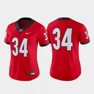 Ladies UGA Jersey College Football Game Red #34 657438-937