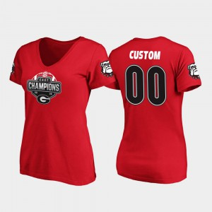 Red 2019 SEC East Football Division Champions UGA Customized T-Shirts Women's V-Neck #00 352680-843