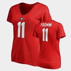 Name & Number V-Neck Red #11 College Legends Jake Fromm UGA T-Shirt For Women's 996361-793