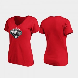 2019 SEC East Football Division Champions V-Neck Red Ladies UGA T-Shirt 737158-646